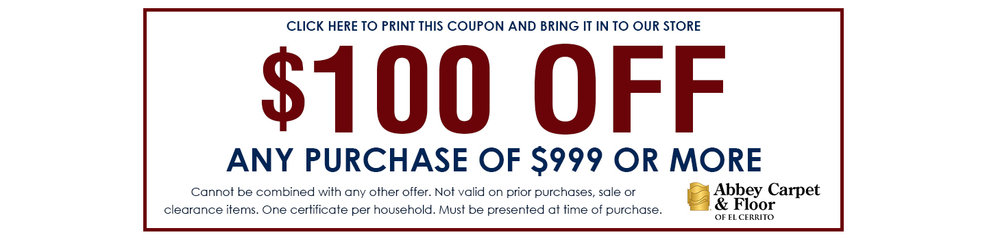Save $100 off any purchase of $1000 or more.
