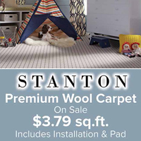 Stanton Premium Wool carpet on sale for $3.79 / square foot installed (includes pad)