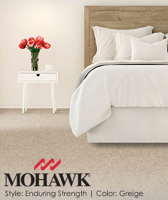 Mohawk Enduring Strength Greige Bedroom Carpet Roomscene