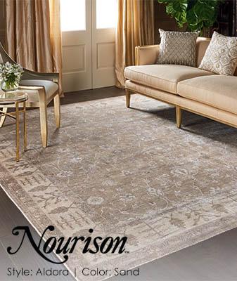 Nourison Aldora Sand Living Room Carpet Roomscene